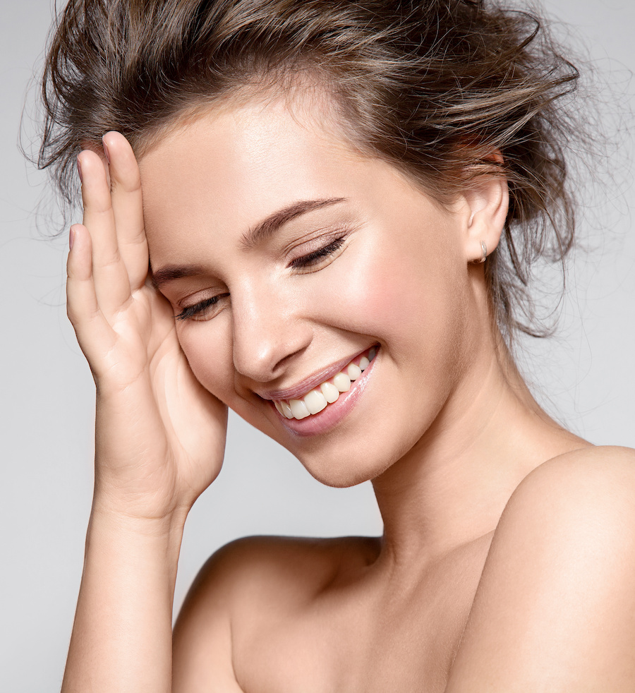 smiling woman with clear skin
