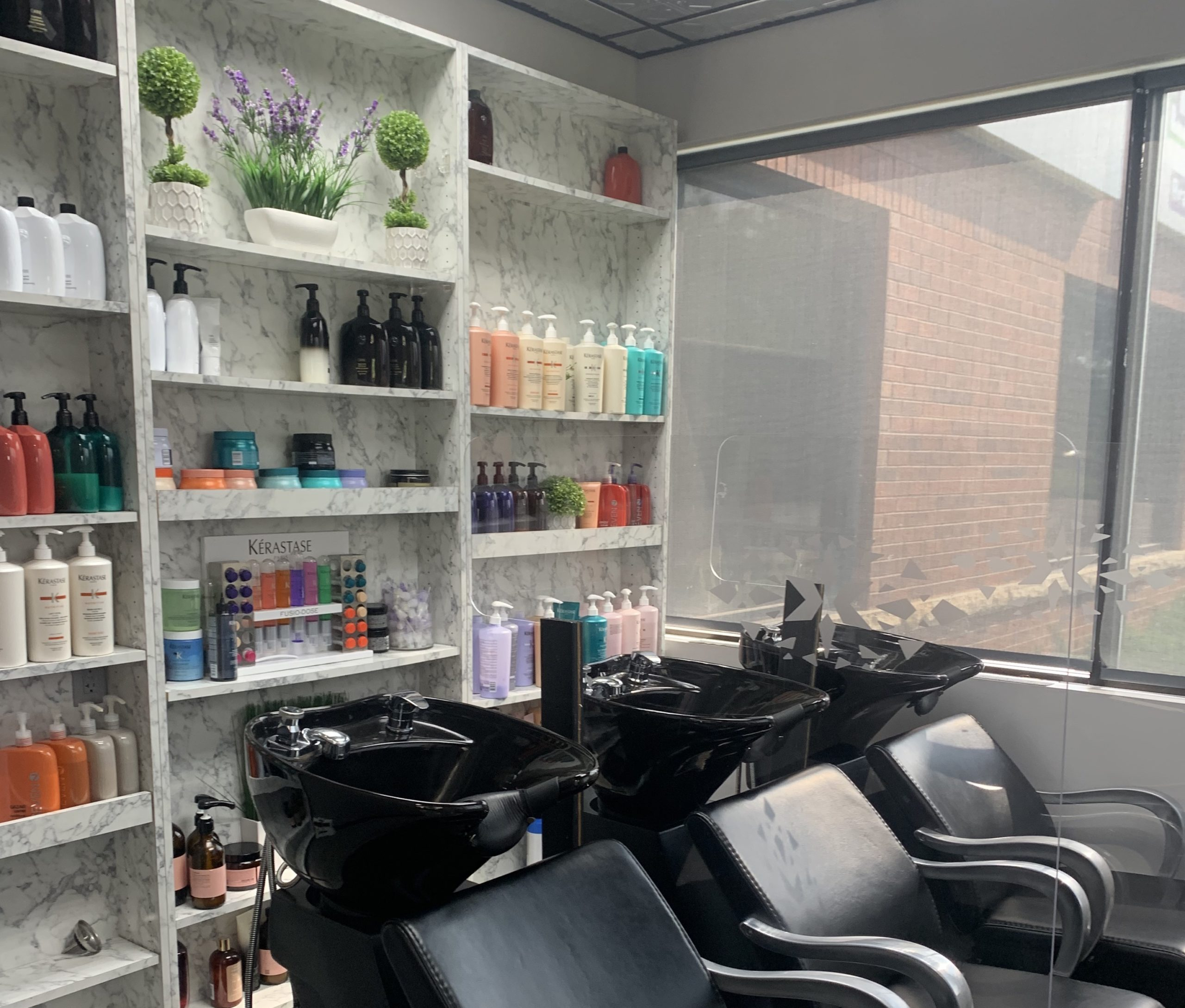 hair care products in a salon